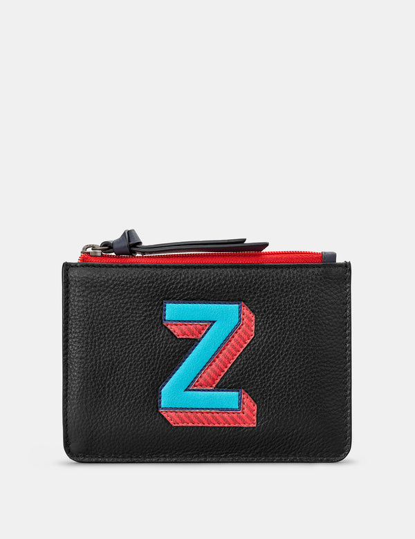 Z Initials Black Leather Zip Top Purse