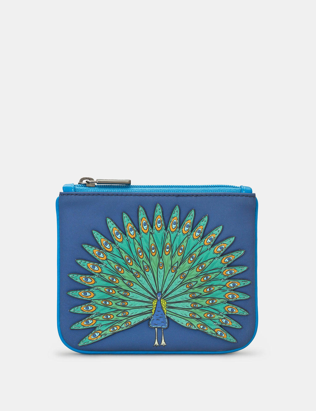 Leather Zip Top Peacock Purse