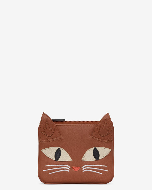Marmalade The Cat Leather Zip Top Purse