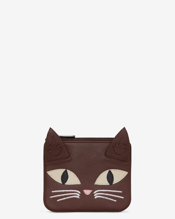 Augustus The Cat Leather Zip Top Purse