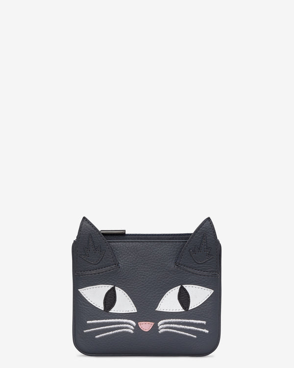 Misty The Cat Zip Top Leather Purse