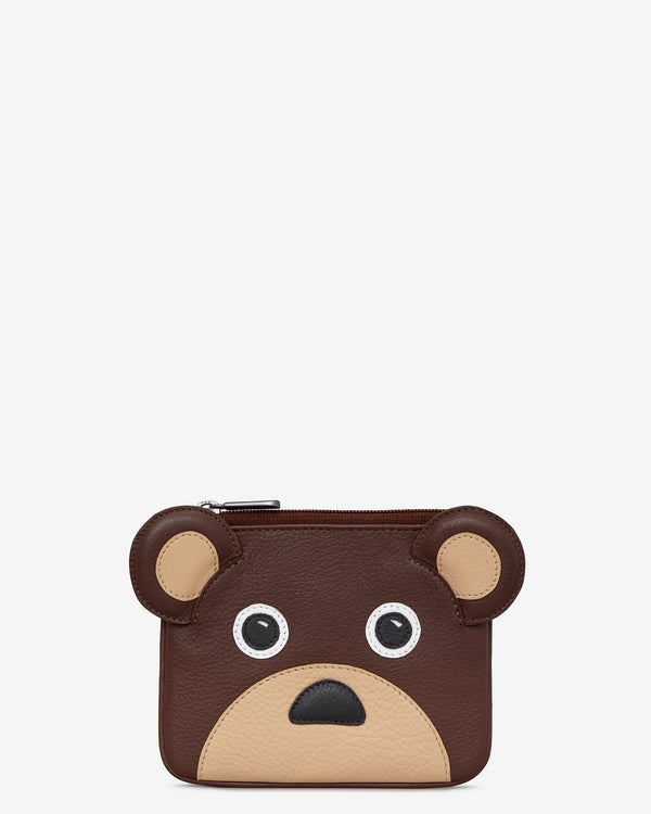Humphrey The Bear Zip Top Leather Purse