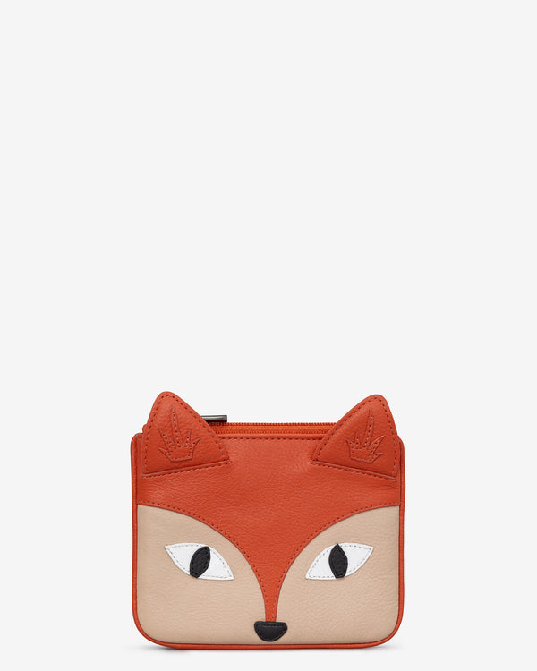 Amber the Fox Zip Top Leather Purse