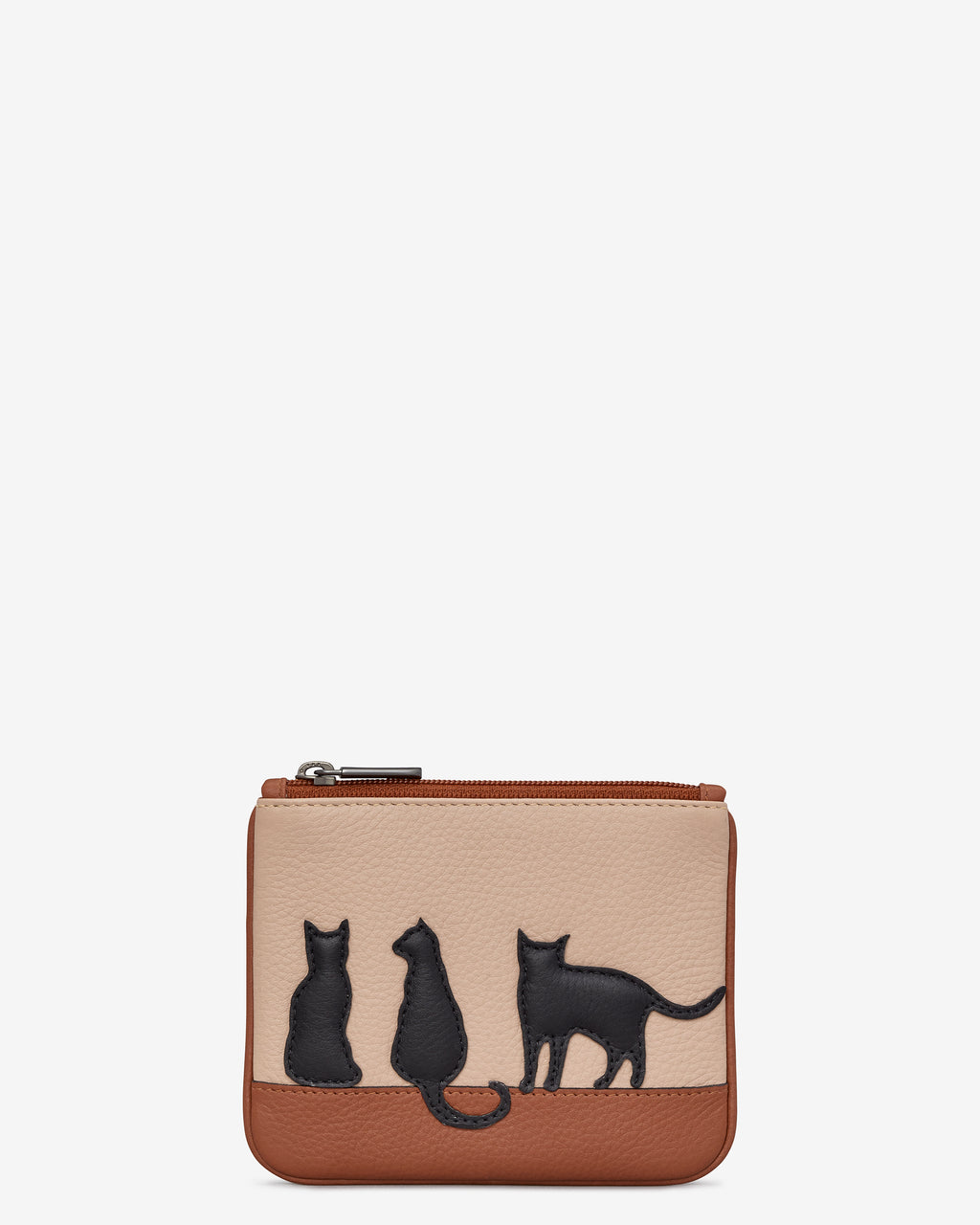 Clowder of Cats Zip Top Leather Purse