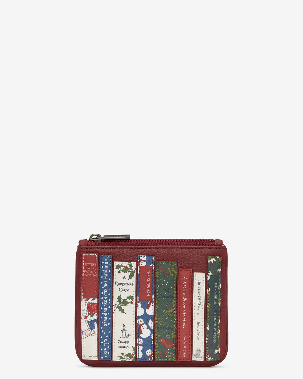 Christmas Bookworm Library Zip Top Leather Purse