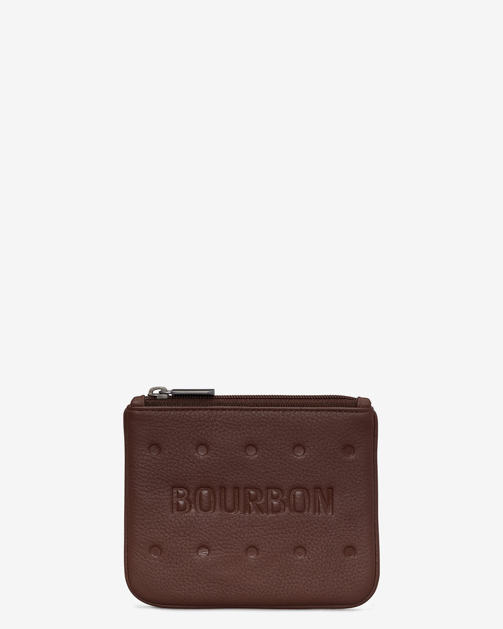 Bourbon Biscuit Leather Zip Top Purse
