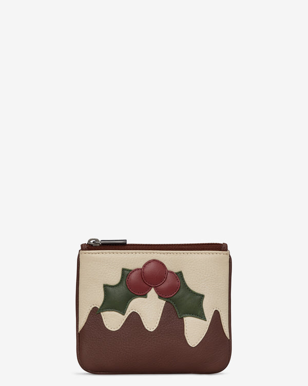 Christmas Pudding Zip Top Leather Purse