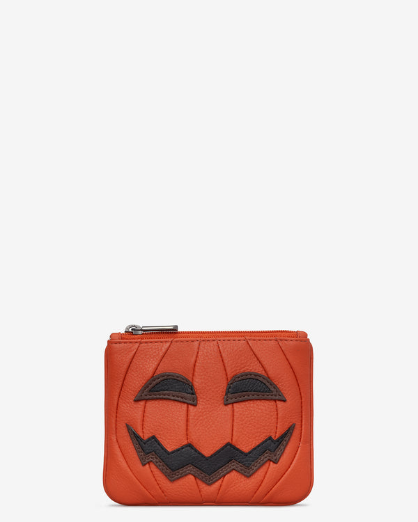 Jack O' Lantern Zip Top Leather Purse