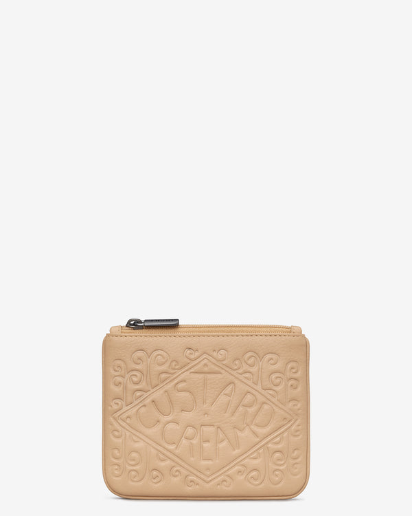 Custard Cream Leather Zip Top Purse