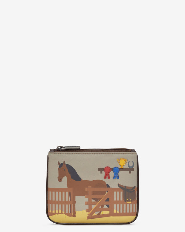 Y By Yoshi Horse Stables Leather Zip Top Purse
