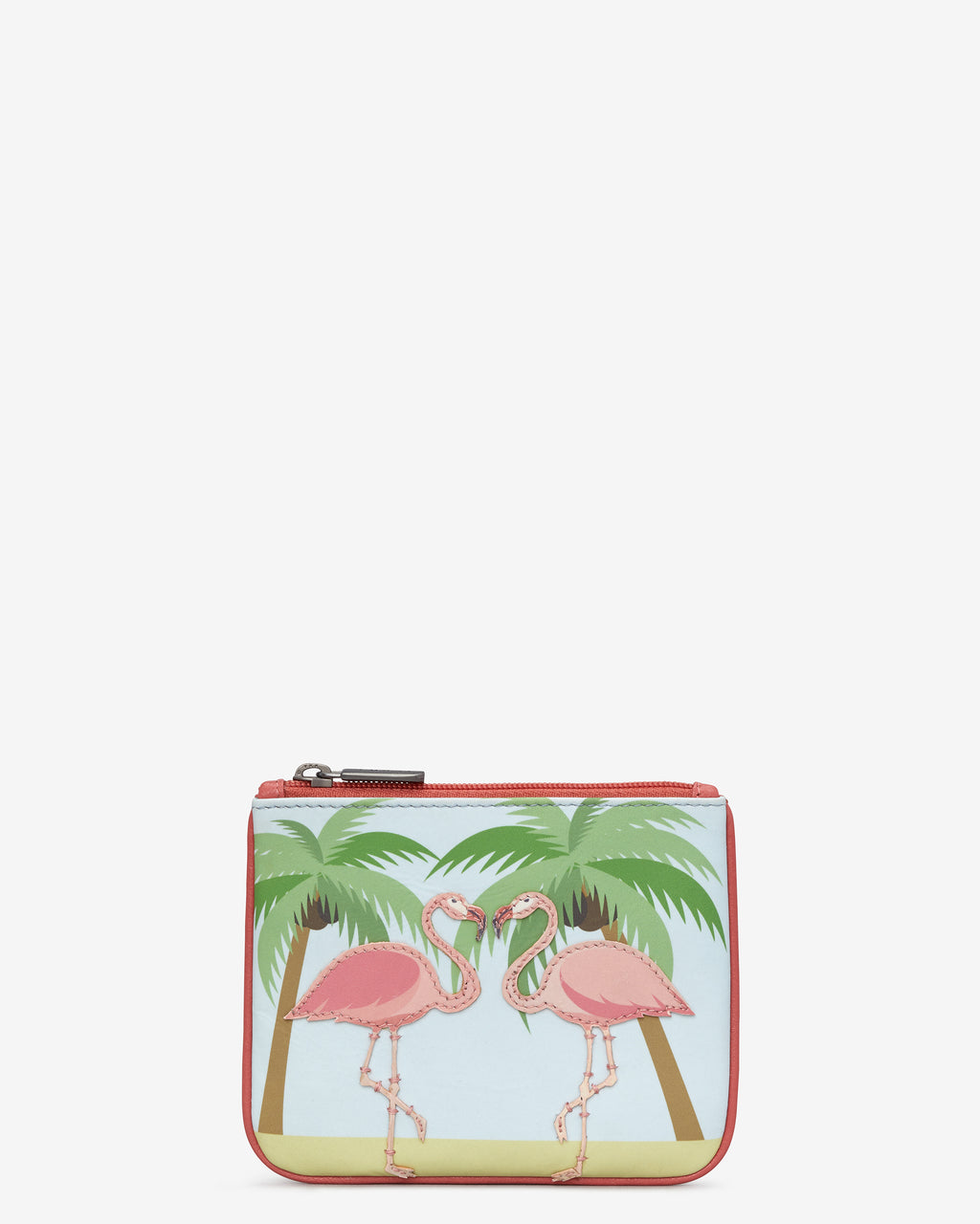 Y By Yoshi Leather Zip Top Flock Of Flamingos Purse