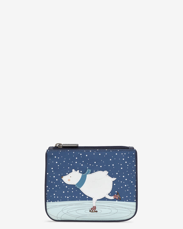 Yoshi Skating Polar Bear Leather Zip Top Purse