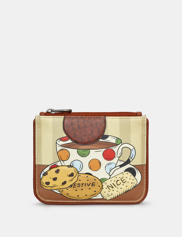 Leather Tea And Biscuits Zip Top Purse