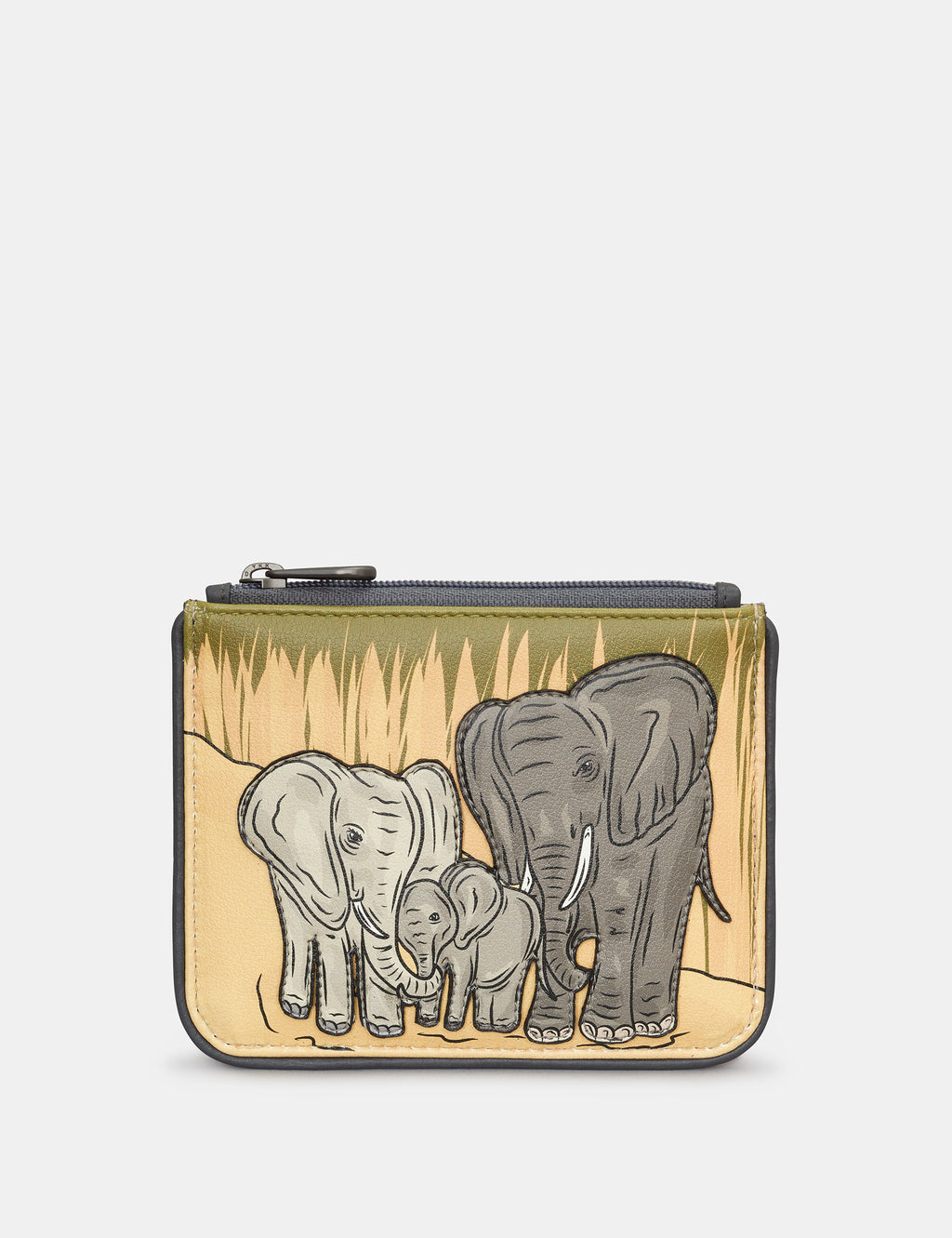 Leather Zip Top Elephant Family Purse