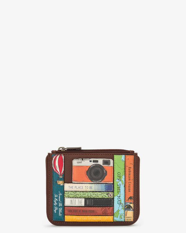 Travel Bookworm Library Zip Top Leather Purse