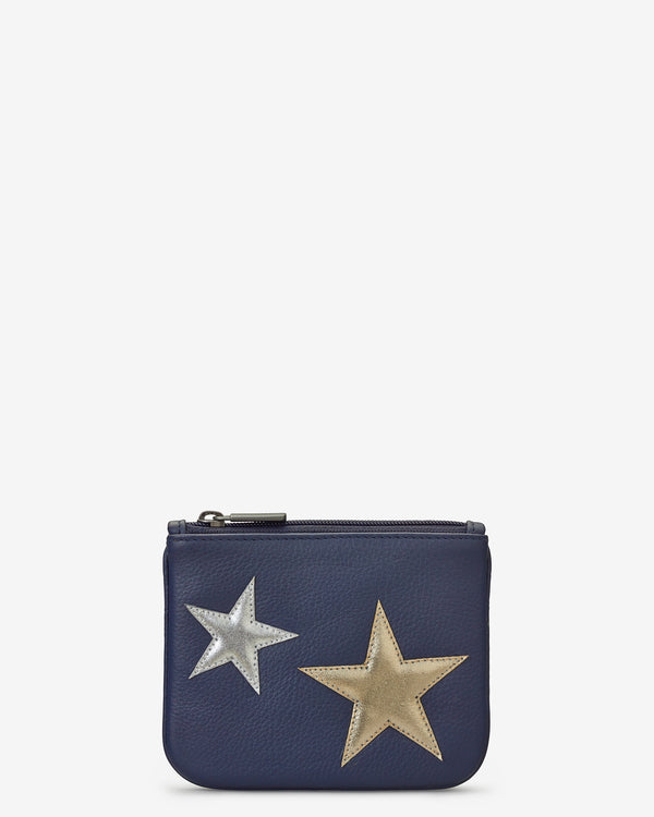 Stars Zip Top Navy Leather Purse