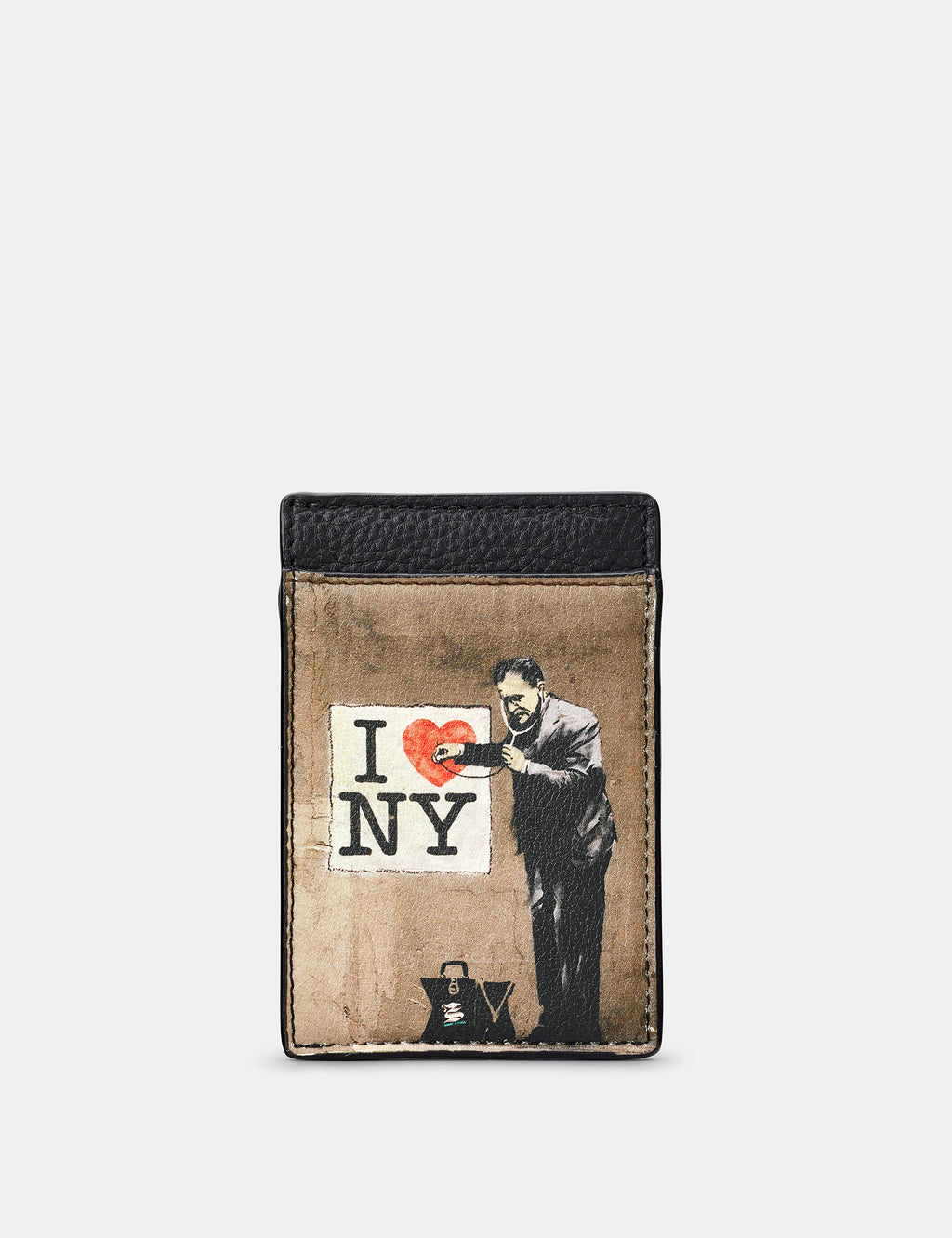 Banksy NY Compact Leather Card Holder