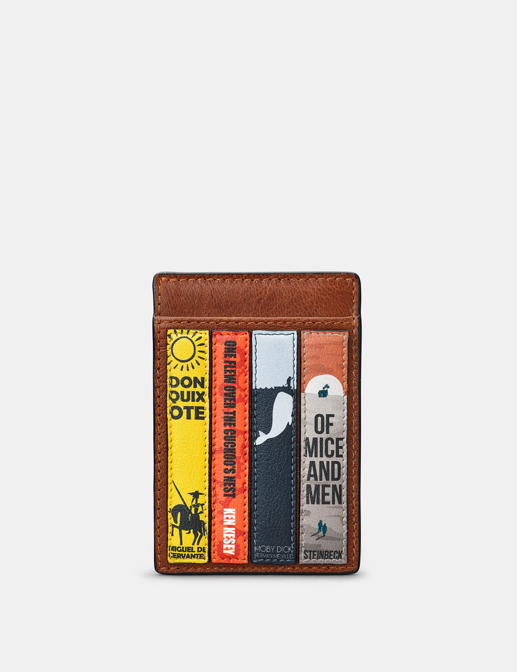 Bookworm Compact Brown Leather Card Holder