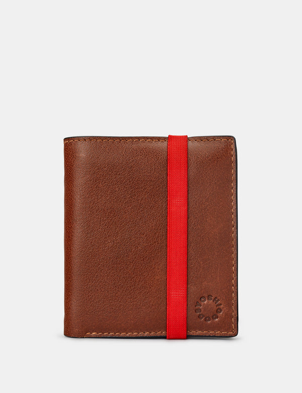 Two Fold Leather Wallet with Coin Pocket and Elastic