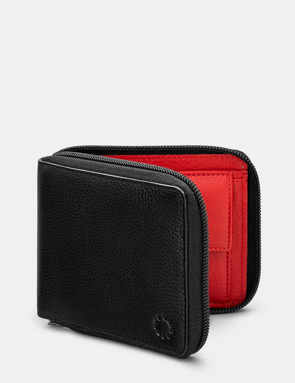 Zip Round Leather Wallet with Contrast Inner