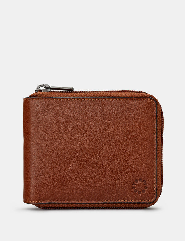 Zip Round Leather Wallet