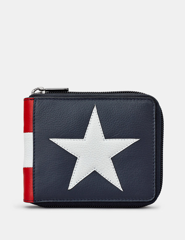 Star & Stripes Zip Round Leather Wallet