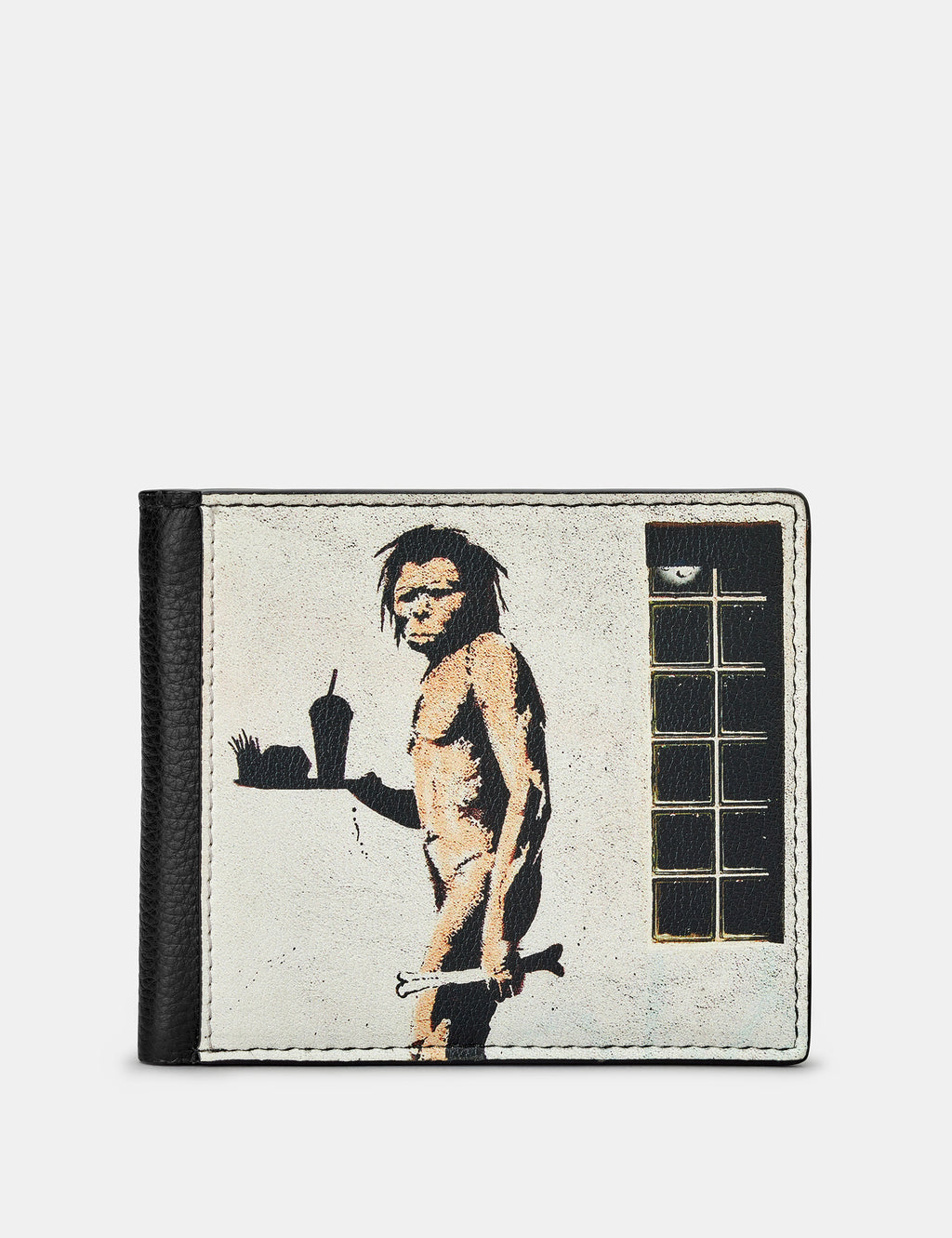Banksy Ape Man Black Leather Wallet