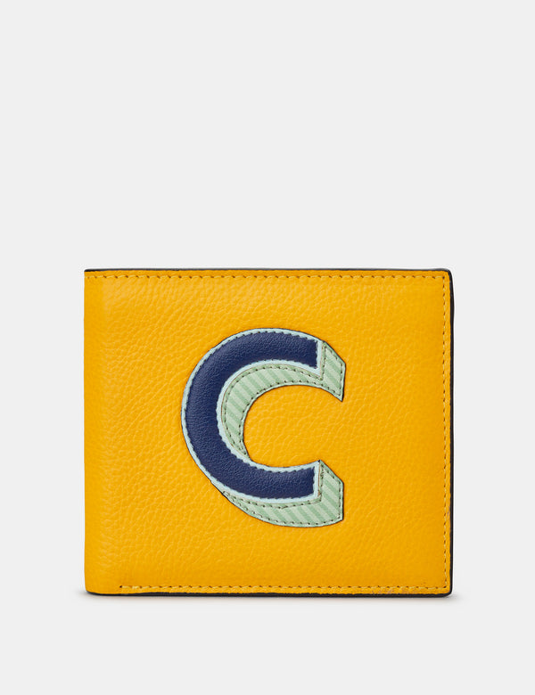 C Initial Mustard Yellow Leather Wallet