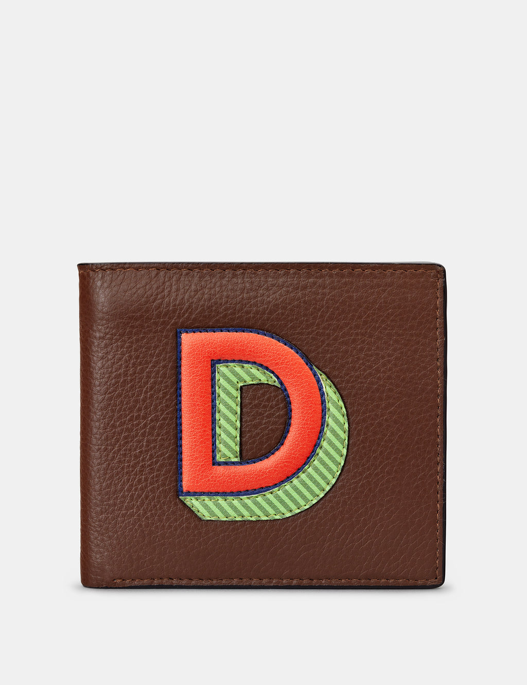 D Initial Brown Leather Wallet