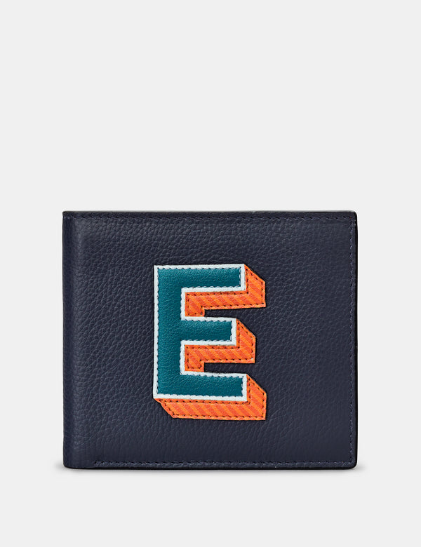 E Initial Navy Leather Wallet