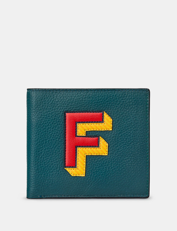 F Initial Teal Leather Wallet