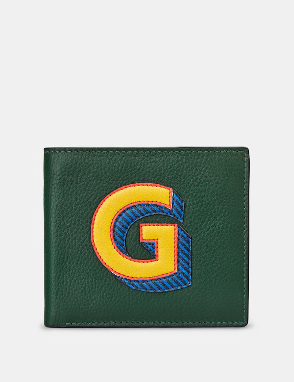 G Initial Green Leather Wallet