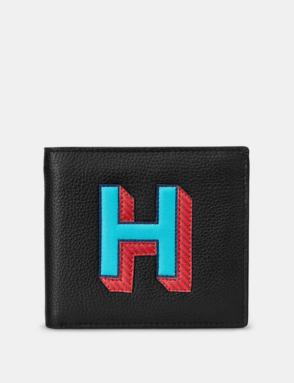 H Initial Black Leather Wallet