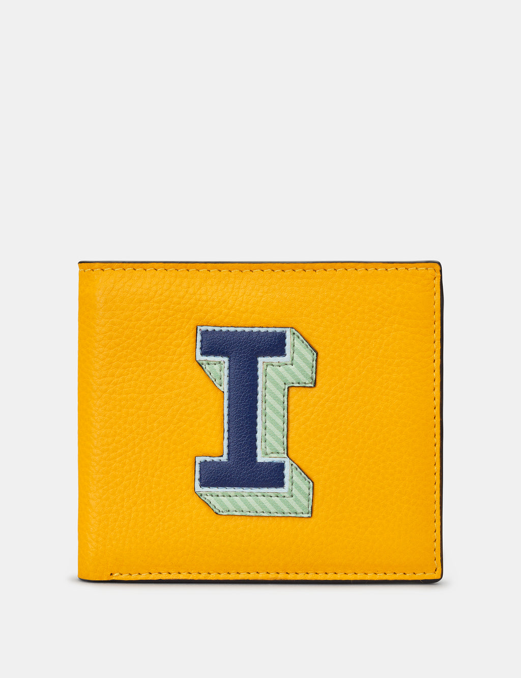 I Initial Mustard Yellow Leather Wallet