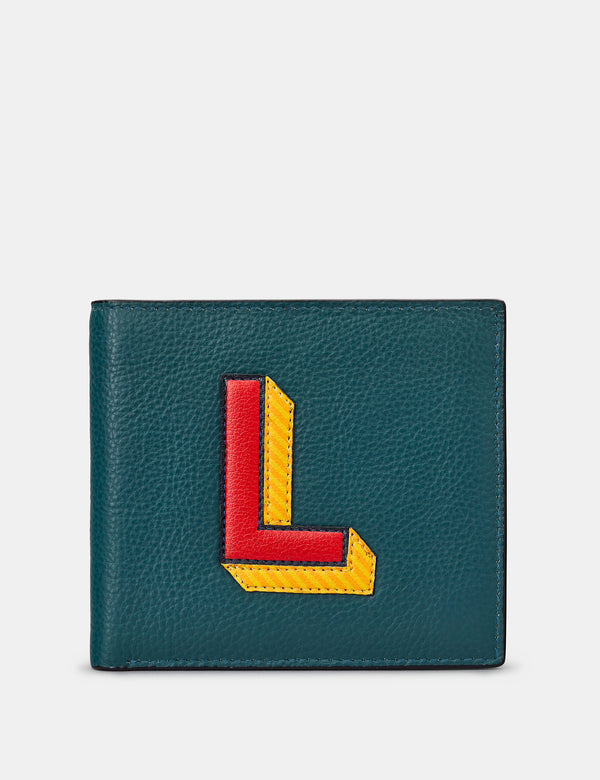L Initial Teal Leather Wallet