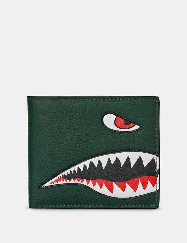 Nose Cone Green and Brown Leather Wallet