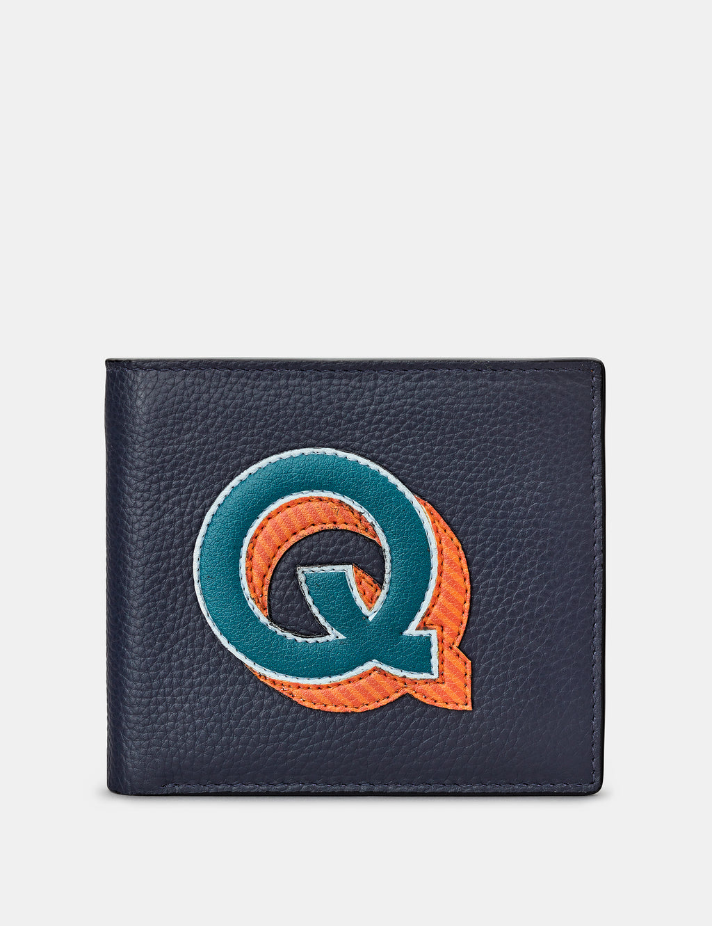 Q Initial Navy Leather Wallet