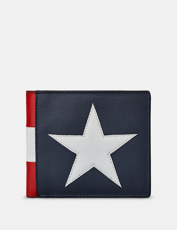 Star & Stripes Brown Leather Wallet