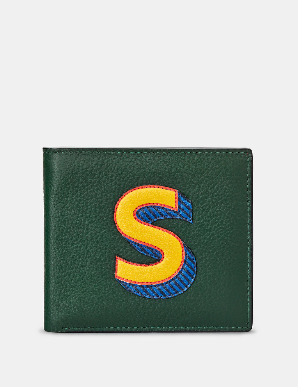S Initial Green Leather Wallet