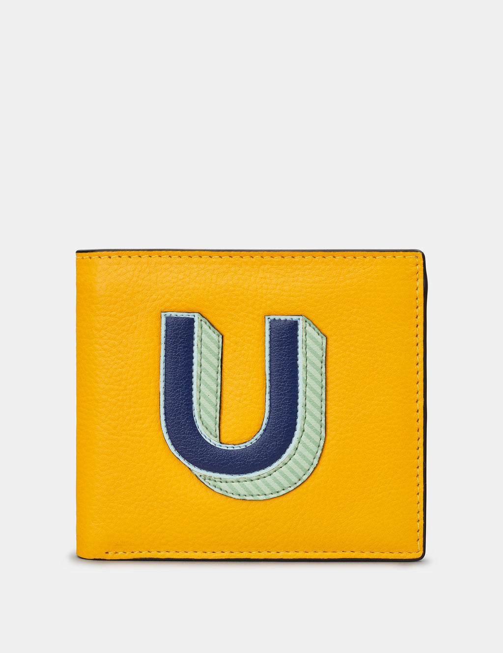 U Initial Mustard Yellow Leather Wallet