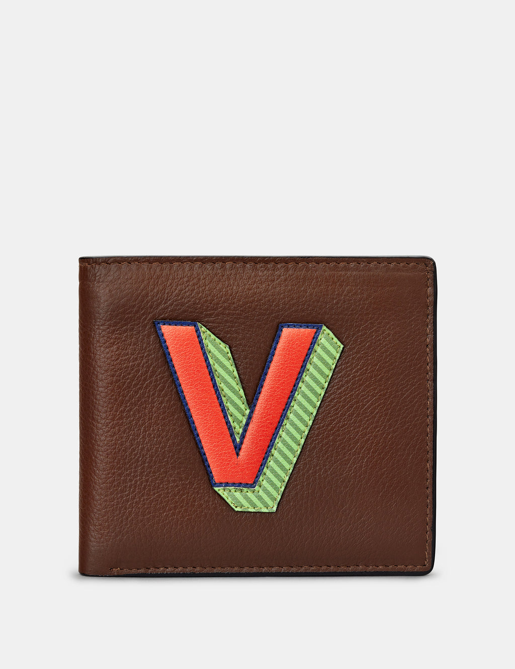 V Initial Brown Leather Wallet