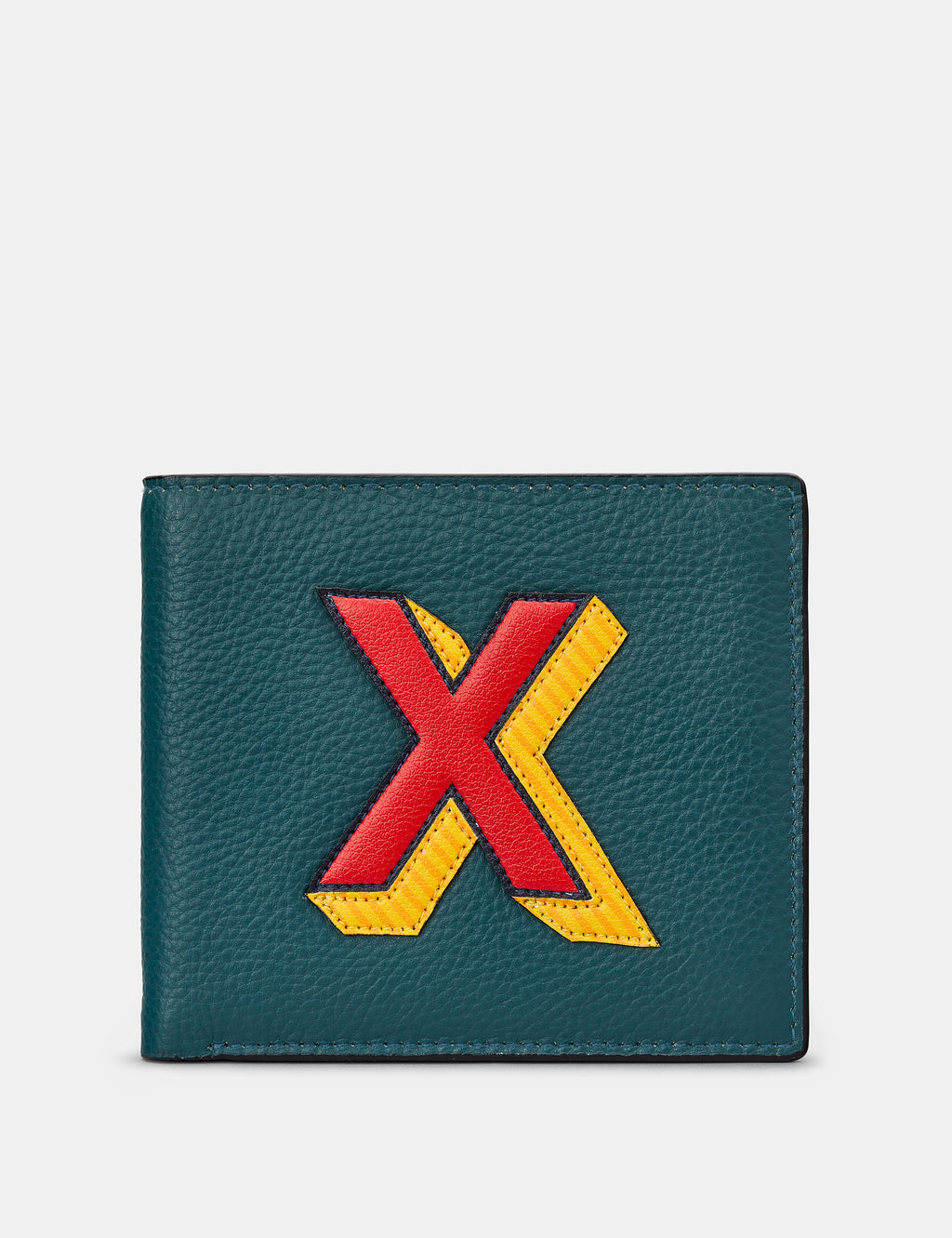 X Initial Teal Leather Wallet