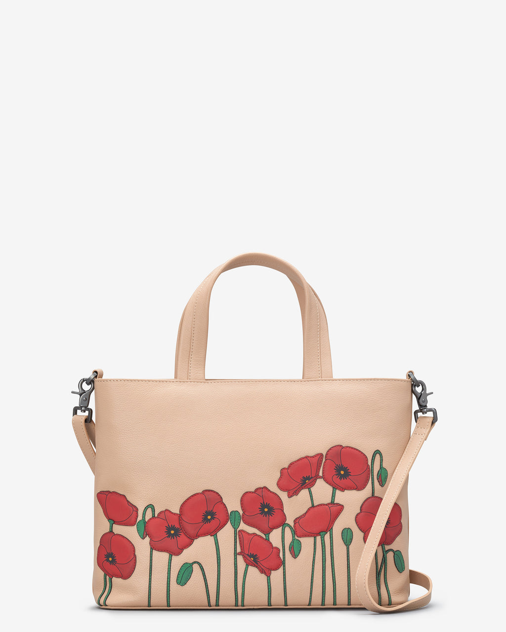 Poppy Flower Leather Grab Bag