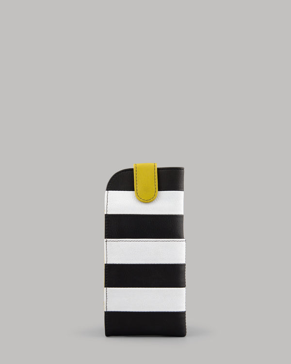 Marty Monochrome Stripe Leather Glasses Case