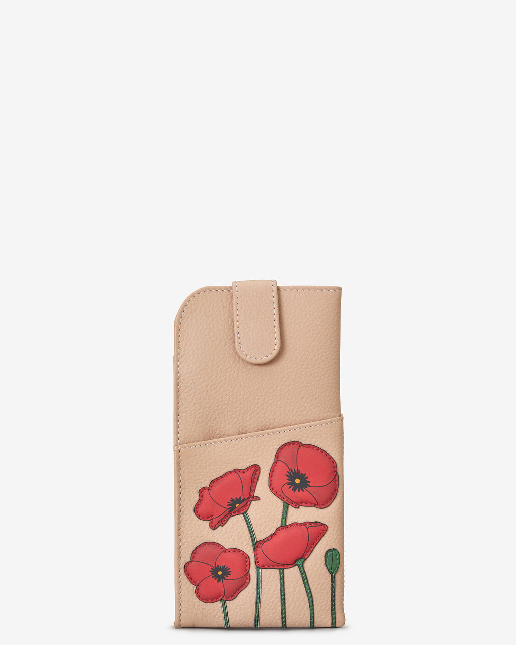 Poppy Flower Leather Glasses Case