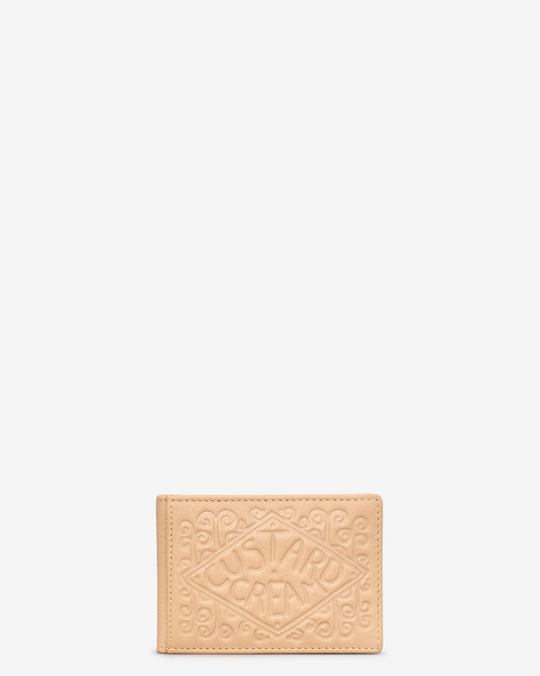 Custard Cream Leather Travel Pass Holder