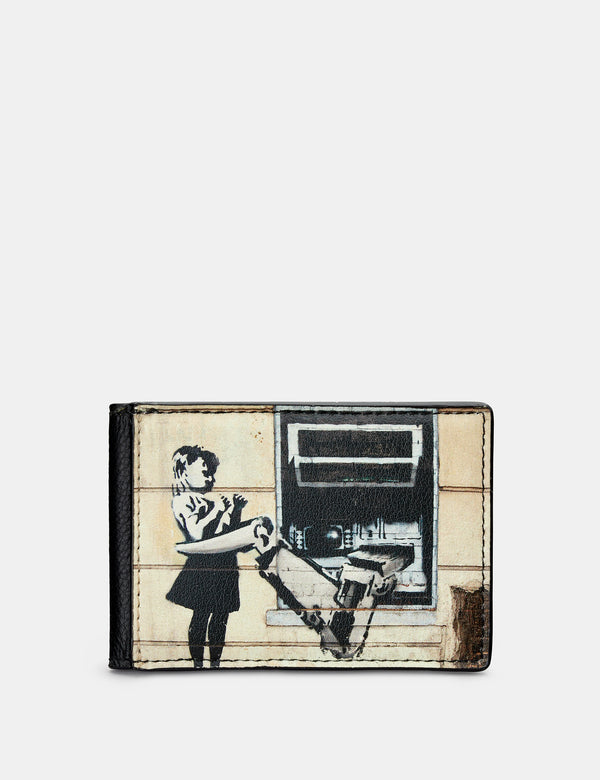 Banksy Cash Machine Black Leather Travel Pass Holder