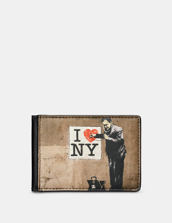 Banksy NY Black Leather Travel Pass Holder