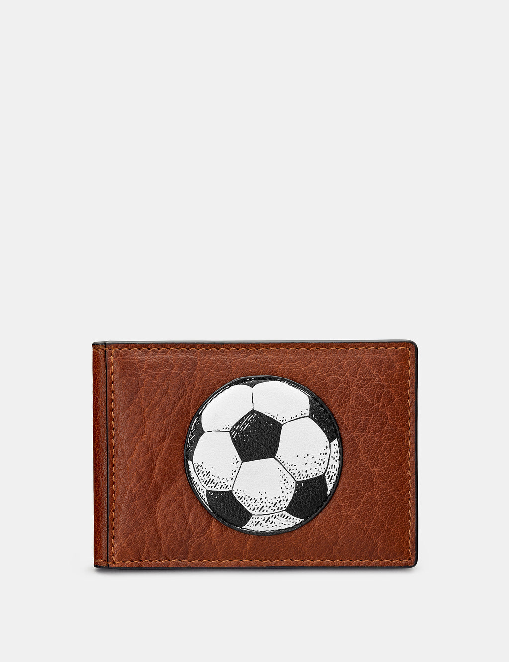 Football Brown Leather Travel Pass Holder