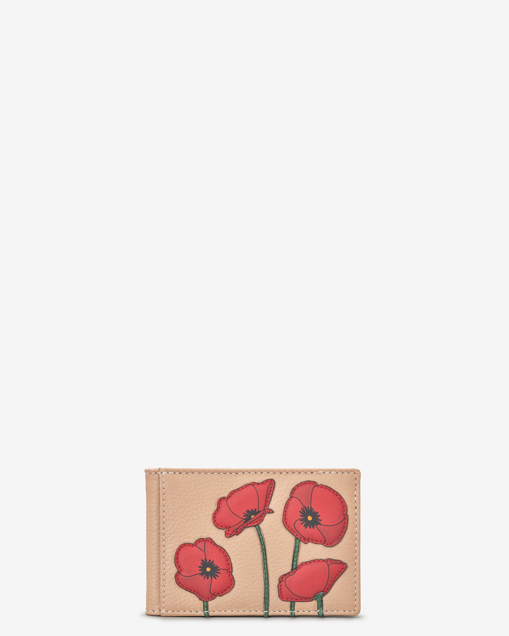 Poppy Flower Leather Travel Pass Holder